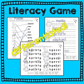 Zoo Animal Math and Literacy Dice Games