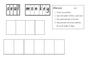 Zoo Animal Names Trace, Cut and Glue Set 1