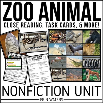 Zoo Animal Nonfiction Unit: Close Reading Passages & Activities