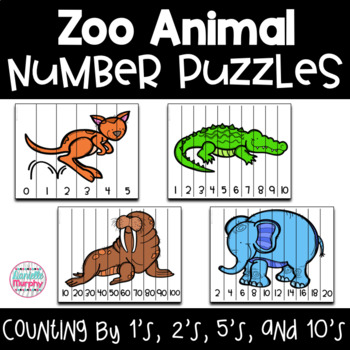 Zoo Animal Number 0-100 and Skip Counting Puzzles
