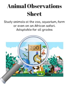 Zoo or Aquarium Animal Observation Worksheet