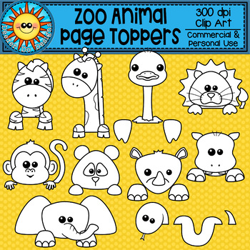 Zoo Animal Page Topper Clip Art