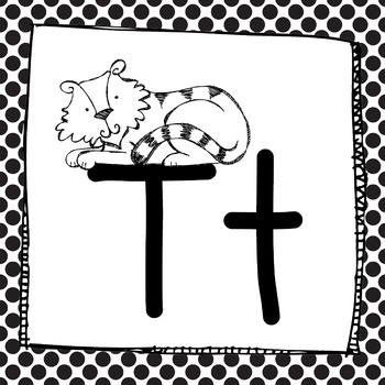 Zoo Animal Phonics Black Polka Dot Words Wall Labels