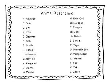 Zoo Animal Phonics Desk Reference