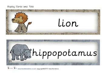 Zoo Animal Picture Cards