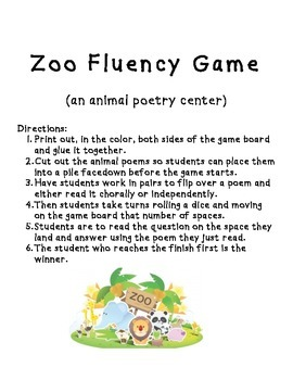 Zoo Animal Poetry Game