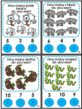 Math Center Counting to 10 Zoo Animals Poke Game