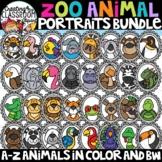 Zoo Animal Portraits Clipart Bundle {Animals A-Z Clipart}