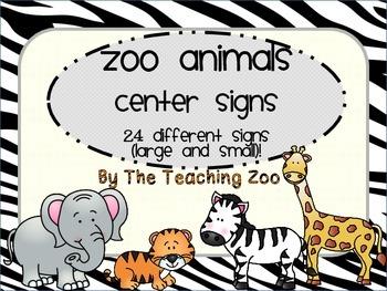 Zoo Animal Print Center Signs and Rotation Cards {Jungle Safari Theme}