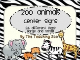 Zoo Animal Print Center Signs and Rotation Cards {Jungle Safari Theme}