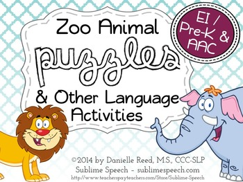 Zoo Animal Puzzles and Other Language Activities