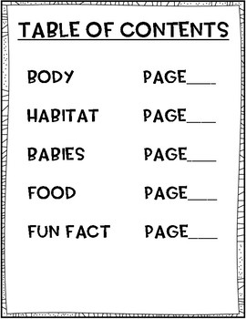 Zoo Animal Research- Covers, Book, Graphic Organizer and Planning Pages