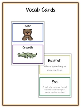 Zoo Animal Research Project - 14 Types, Vocab Cards, Packet, Book  + More!