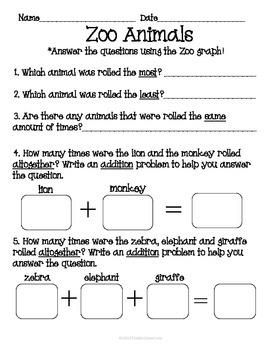 Zoo Animal Roll Tally Graph Math Activity Center Set
