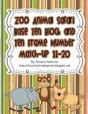 Zoo Animal Safari Base Ten and Ten Frame Number Match 11-20 Math Stations
