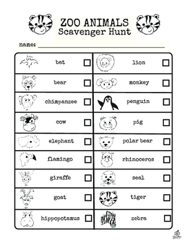 Revered image regarding zoo scavenger hunt printable