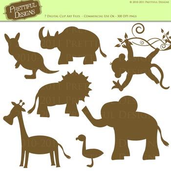 Zoo Animal Silhouette Clip Art Lion Elephant Monkey Giraffe Flamingo