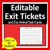 Editable Exit Tickets with Zoo Animal Task Cards
