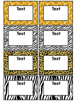 Zoo Animal Themed Classroom Supply Labels