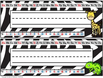 Zoo Animal Themed Name Plates (Editable)