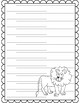 Zoo Animal Themed Paper with Handwriting Lines ~ giraffe elephant lion tiger