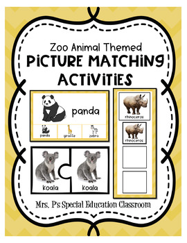Zoo Animal Themed Picture Matching Activities