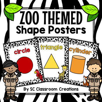 Zoo Animal Themed Shape Posters 2D and 3D-Classroom Decor