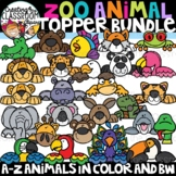 Zoo Animal Toppers Clipart Bundle {Animals A-Z Clipart}