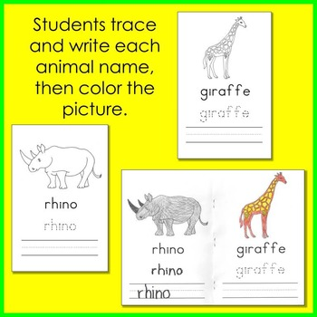 Zoo Animal Trace and Write Booklet