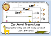 Zoo Animal Tracing Lines Worksheets - Color AND black and white -  Morning Work