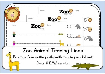 Zoo Animal Tracing Lines Worksheets - Color AND black and
