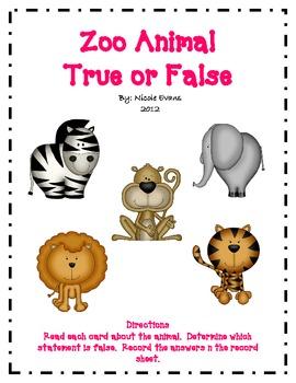 Zoo Animal True or False