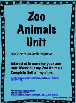 Zoo Animal Unit Freebie
