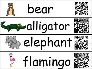 Zoo Animal Vocabulary and Write the Room Using QR Codes