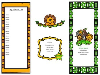Zoo Animal Welcome Letter/Brochure