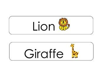 Zoo Animal Words- Literacy Center