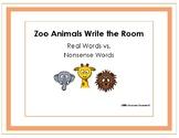 Zoo Animal Write the Room Real vs. Nonsense Words