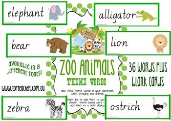 Zoo Animal theme words