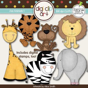 Zoo Animals 1 -  Digi Clip Art/Digital Stamps - CU Clip Art