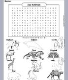 Zoo Animals Word Search/ Coloring Sheet: Lion, Tiger, Polar Bear, Elephant, etc.