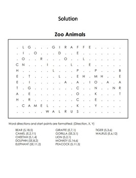 Zoo Animals Word Search/ Coloring Sheet: Lion, Tiger, Polar Bear, Elephant, etc.