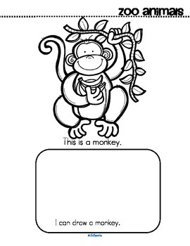 Zoo Animals Activity Printables for Preschool - Read Color and Draw, Make a Book