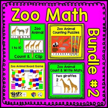 Zoo Animal Math Center BUNDLE 2