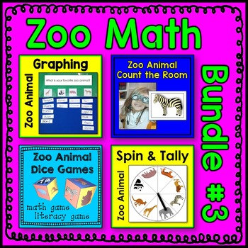 Zoo Animal Math Center BUNDLE 3
