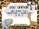 Zoo Animals ABC Alphabet Letter Sort Sorting Mats Uppercase and Lowercase