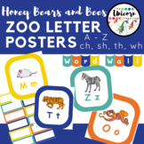 Zoo Animals ABC's Alphabet Poster and Words Wall Letters in Blue, Yellow, Orange