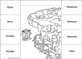 Zoo Animals Activity: Interactive Notebook Foldable/ Coloring Book