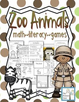 Zoo Animals Activity Set K-1 Math Literacy Games Puzzles C
