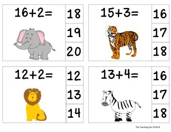 Zoo Animals Add & Clip 1-20 (Math Center)