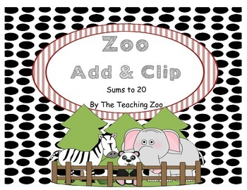 Zoo Animals Add & Clip 1-20 (Math Center)